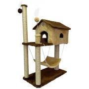 Arranhador Gatos 2 Andares Casa e Rede Marrom/Bege (70 x 35 x 104 cm)