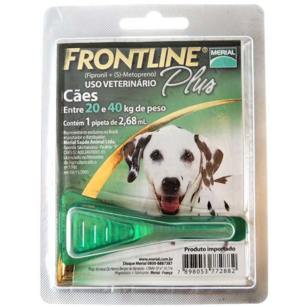 Antipulgas Frontline Plus Cães 20 a 40 kg (G) Pipeta 2,68 ml