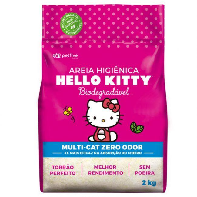 Areia Higiênica Hello Kitty Rosa 2KG - p/ Gatos