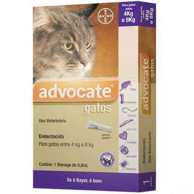 Anti Pulgas Bayer Advocate Gatos de 4 a 8 Kg - 0,8 ml (1 unidade)