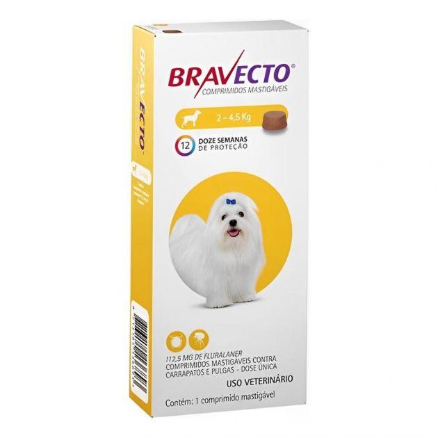 Bravecto 112,5mg Cães até 4,5kg Antipulgas e Carrapatos