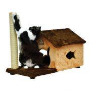 Arranhador Gatos Casa Fit Poste Marrom e Bege (70 x 36 x 55 cm)
