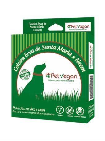 Coleira Antipulgas Erva de Sta Maria PetVegan - p/ Cães de 8 kg a 15 kg