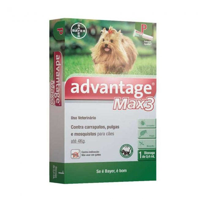 Anti Pulgas e Carrapatos Advantage Max 3 (0,4 ml) - Cães até 4 Kg