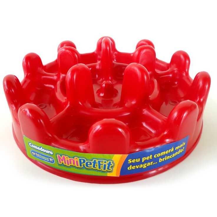 Comedouro Cães Lento Mini Pet Fit 20 cm - Vermelho