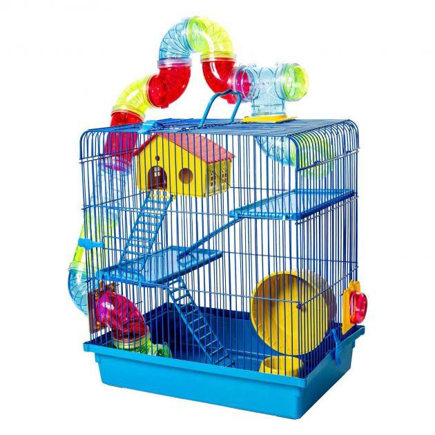 Gaiola Hamster Super Luxo Labirinto 3 Andares Azul