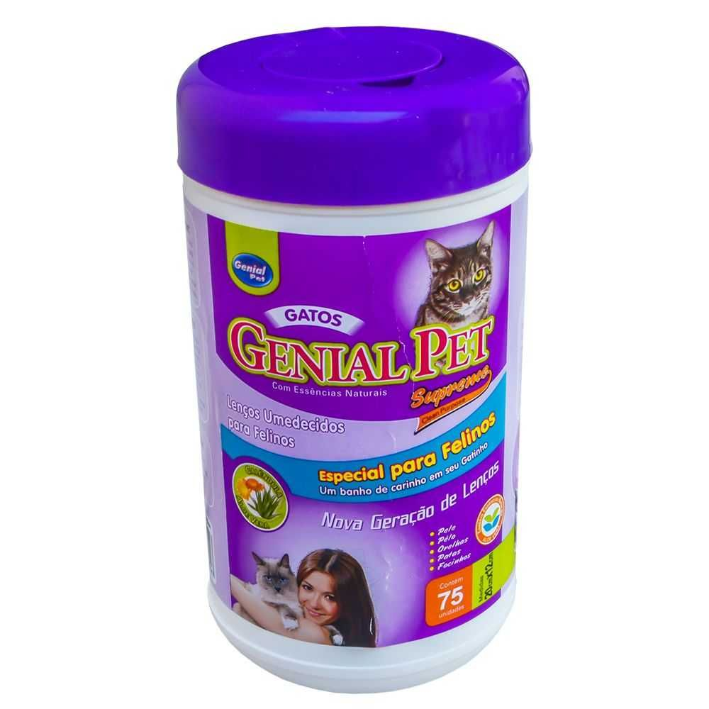 Lenço Umedecido Gatos Genial Pet - 75 unidades