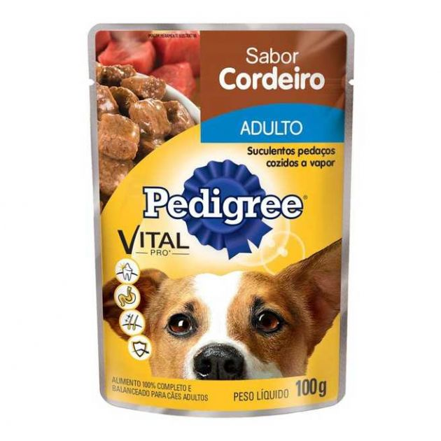 Pedigree Sachê Cães Adultos Raças Pequenas Cordeiro ao Molho - 100g