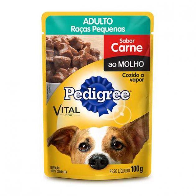 Ração Úmida Pedigree Sachê Vital Pro para Cães Adultos de Raças Pequenas Sabor Carne ao Molho -100g