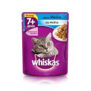 Whiskas Sachê Gatos Adultos 7+ Sabor Peixe ao Molho 85g - Ração Úmida